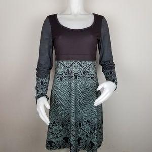 PrAna Size S Holly Long Sleeve Black & Green Dress